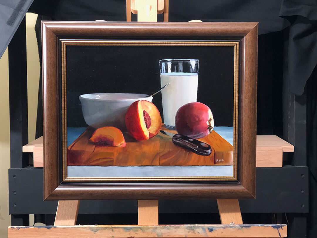 Framed Peaches and Milk
